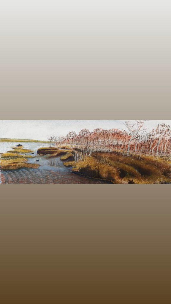 Schwimmenden Moor pastellkreide